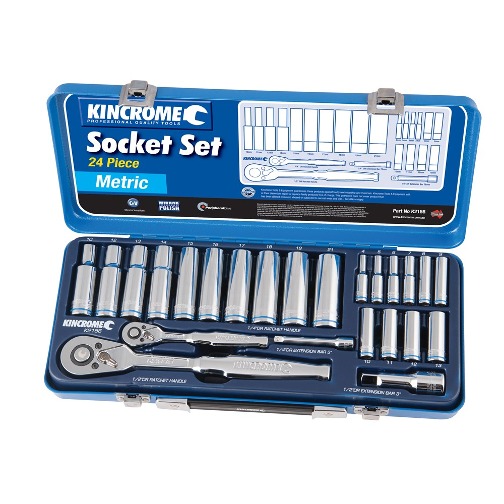 KINCROME SOCKET SET DEEP | 1/4 & 1/2 INCH DRIVE 24 PCE K2156
