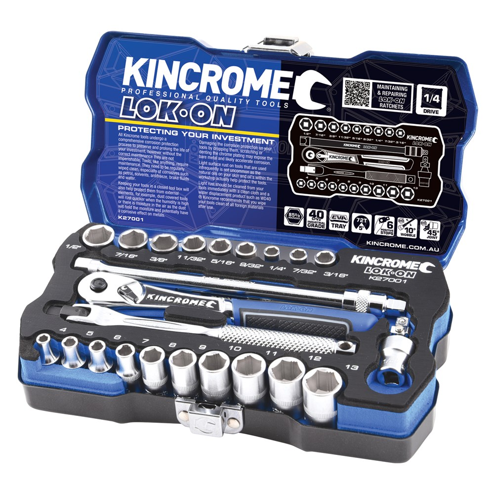 KINCROME SOCKET SET LOK-ON METRIC & IMPERIAL | 1/4 INCH DRIVE 24 PCE K27001