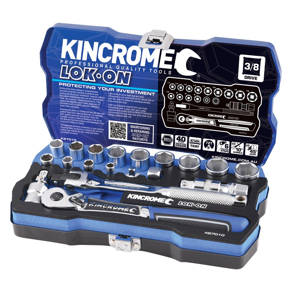 KINCROME SOCKET SET LOK-ON METRIC | 3/8 INCH DRIVE 19 PCE K27010
