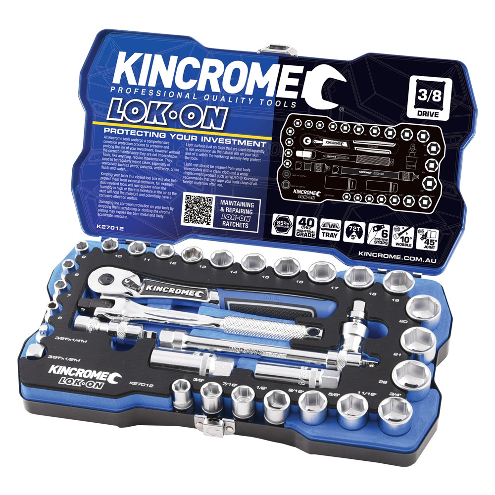 KINCROME SOCKET SET LOK-ON METRIC & IMPERIAL | 3/8 INCH DRIVE 33 PCE K27012