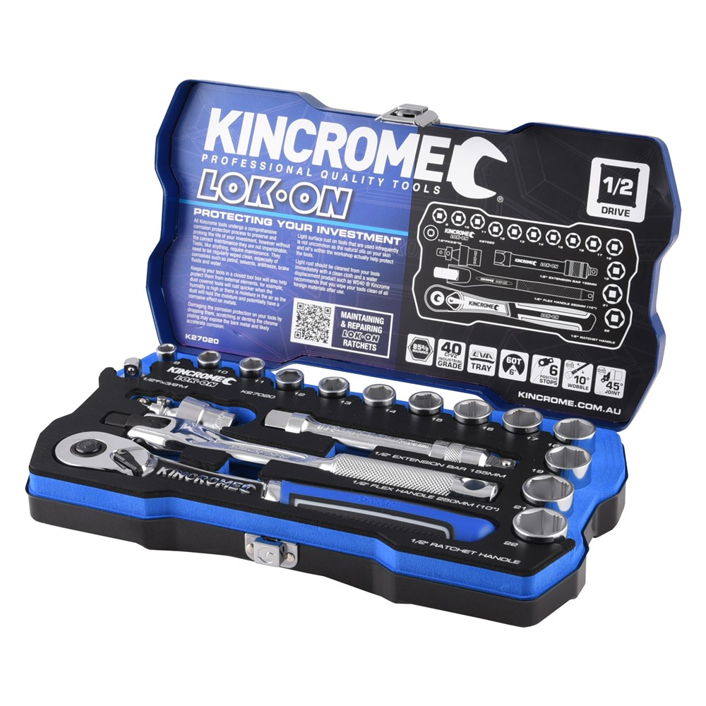 KINCROME SOCKET SET LOK-ON METRIC | 1/2 INCH DRIVE 18 PCE K27020