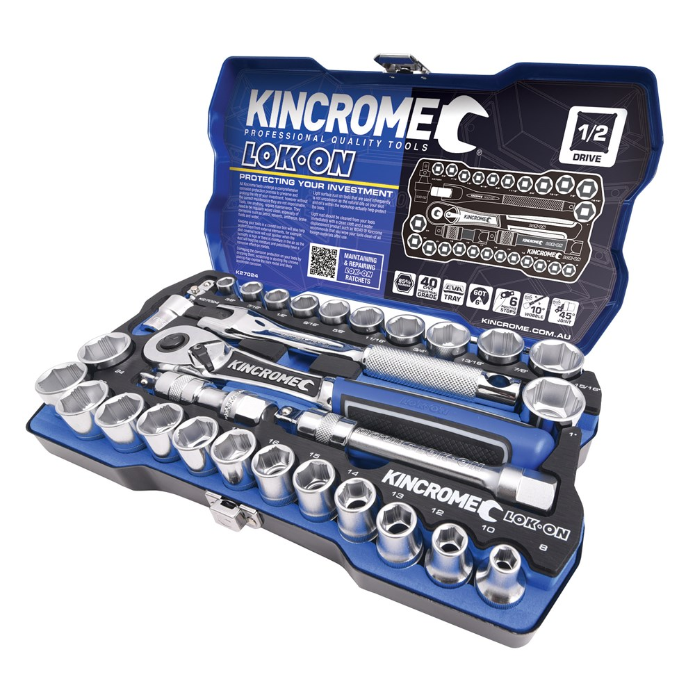 KINCROME SOCKET SET LOK-ON METRIC & IMPERIAL | 1/2 INCH DRIVE 29 PCE K27024