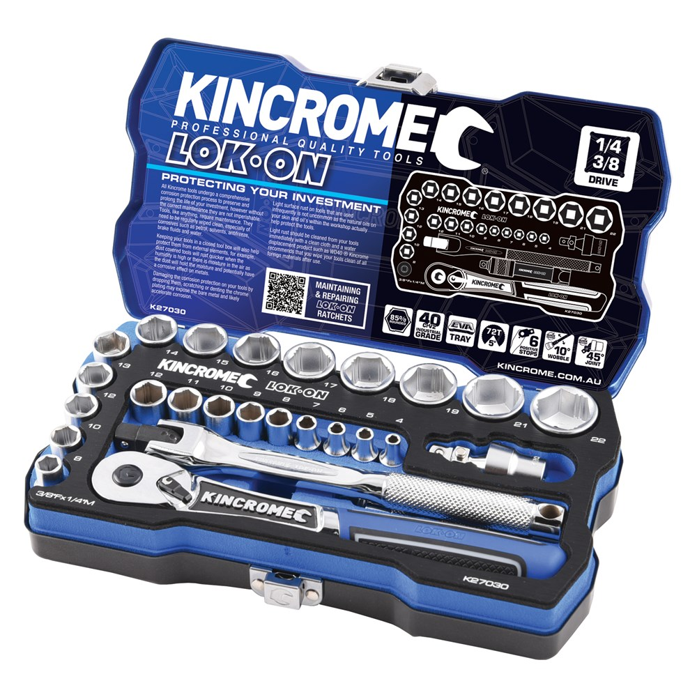 KINCROME SOCKET SET LOK-ON METRIC | 1/4 & 3/8 INCH DRIVE 26 PCE K27030
