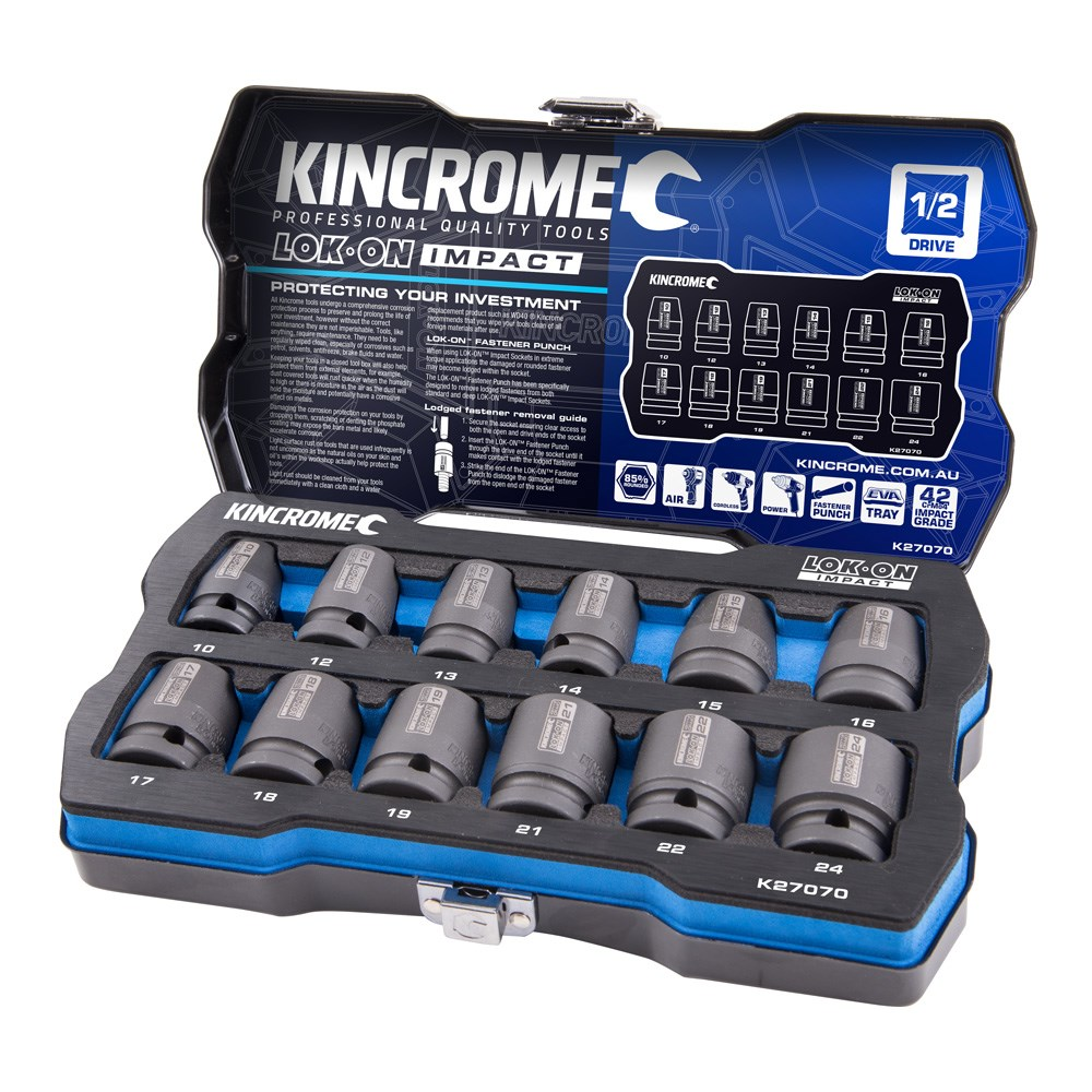KINCROME SOCKET SET LOK-ON IMPACT METRIC | 1/2 INCH DRIVE 12 PCE K27070