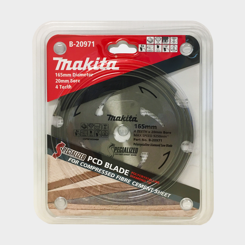 MAKITA SAW BLADE FIBRE CEMENT PCD | 165mm x 20 x 4T B-20971