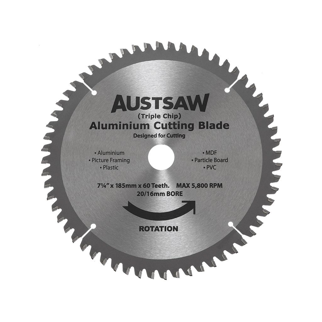 AUSTSAW ALUMINIUM CUTTING BLADE | 185mm 20/16 60 TEETH ALYC1852060