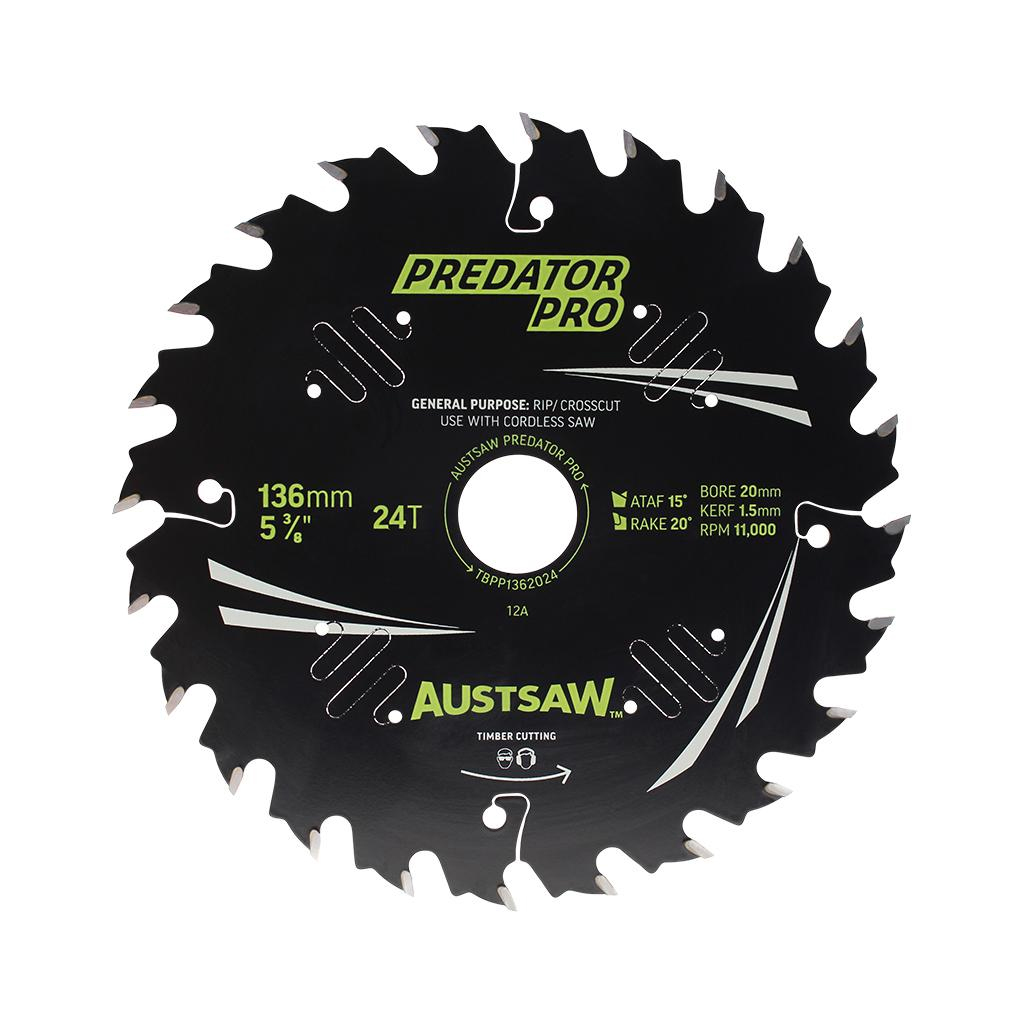 AUSTSAW PREDATOR PRO TIMBER BLADE WOOD & NAIL | 136mm 24T