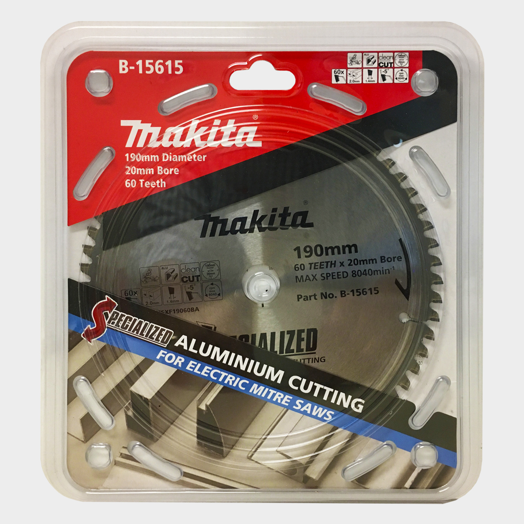 MAKITA SAW BLADE ALUMINIUM CUTTINGM MITRE SAW | 190mm x 20mm x 60T B-15615