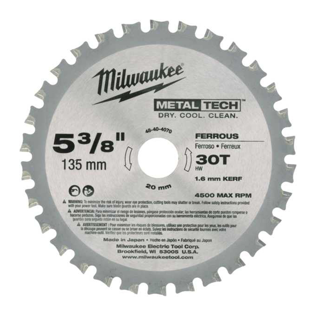 MILWAUKEE CIRCULAR SAW BLADE METAL CUTTING | 135mm x 20mm x 30T 48404070