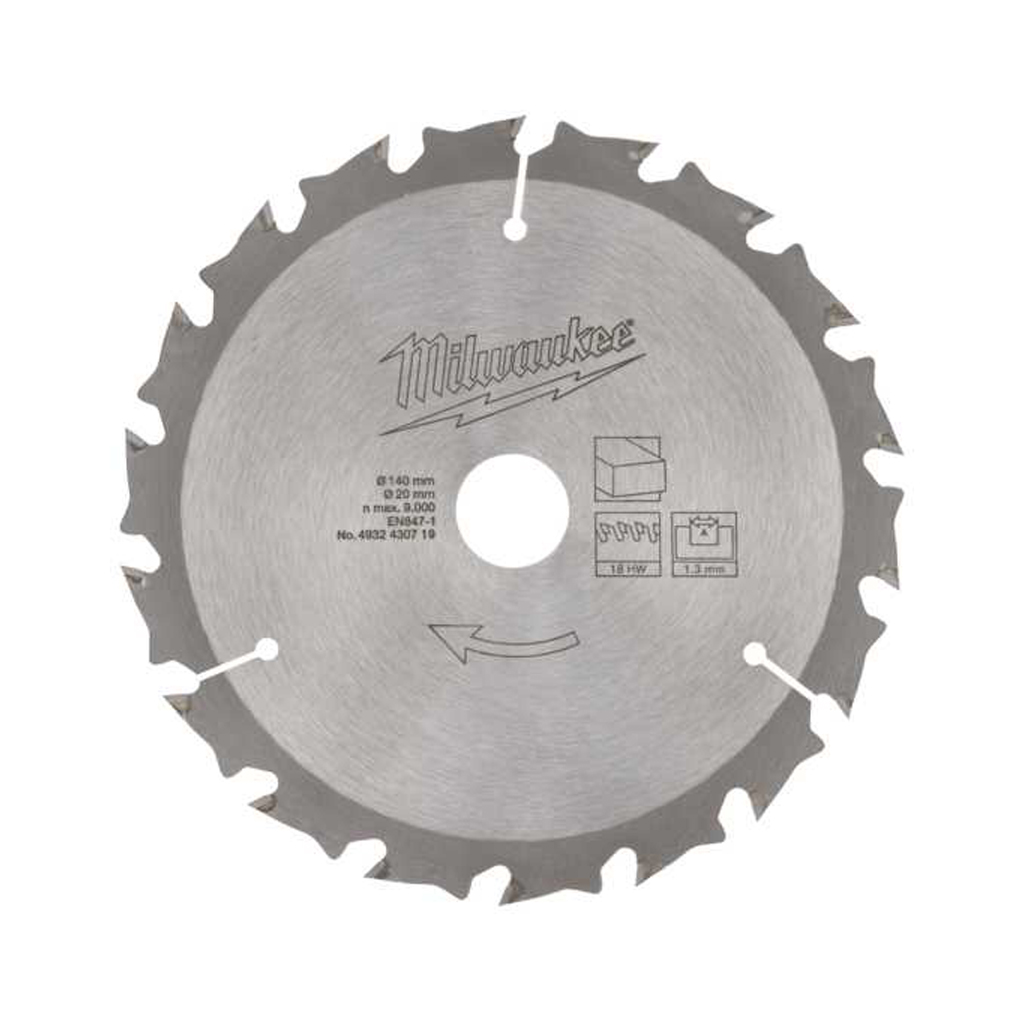 MILWAUKEE CIRCULAR SAW BLADE TIMBER CUTTING | 140mm x 20mm x 18T 4932430719