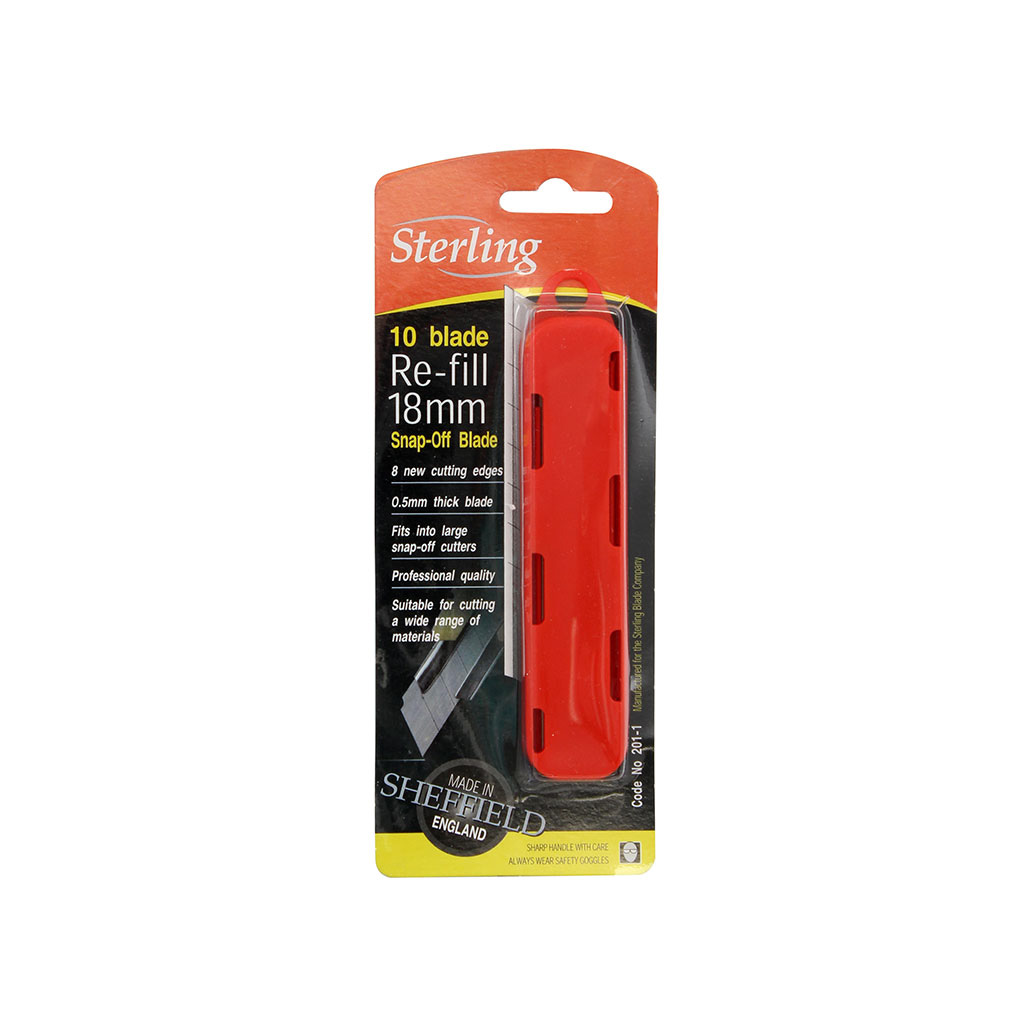 STERLING SNAP-OFF KNIFE BLADE 18MM LARGE PACK OF 10 201-1