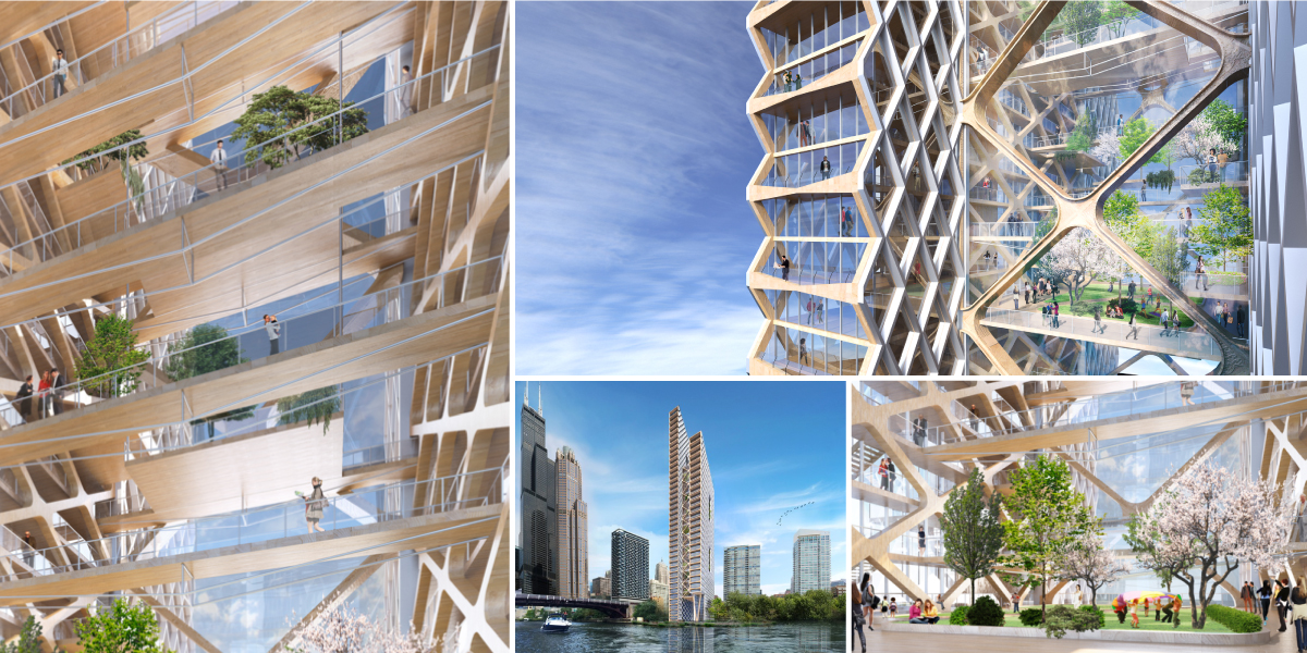 Timber skyscraper engages the diagrid engineering system